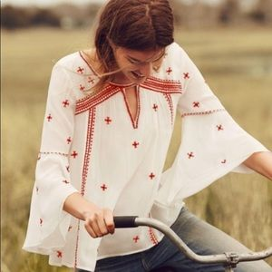Anthropologie Floreat Red and White Blouse